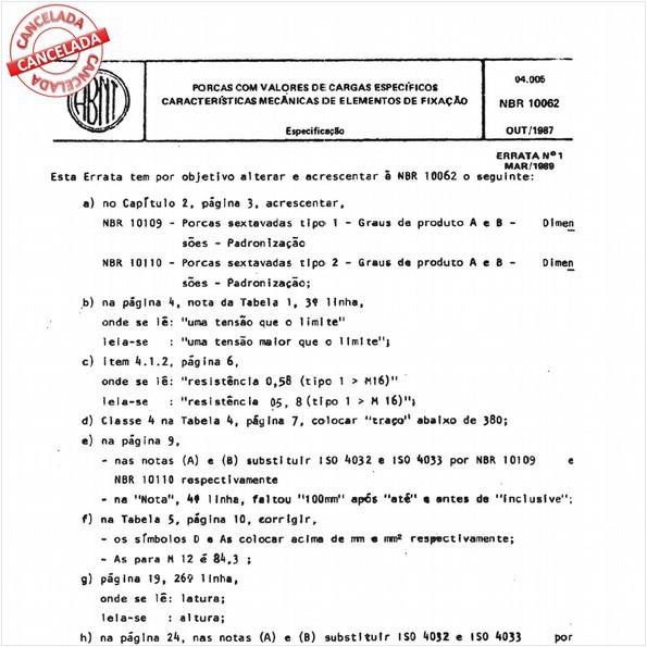 Porcas com valores de cargas específicas - Características mecânicas dos elementos de fixação