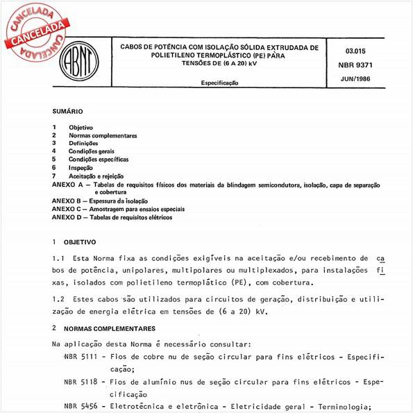 Cabos de potência com isolação sólida extrudada de polietileno termoplástico (PE) para tensões de (6 a 20) kV