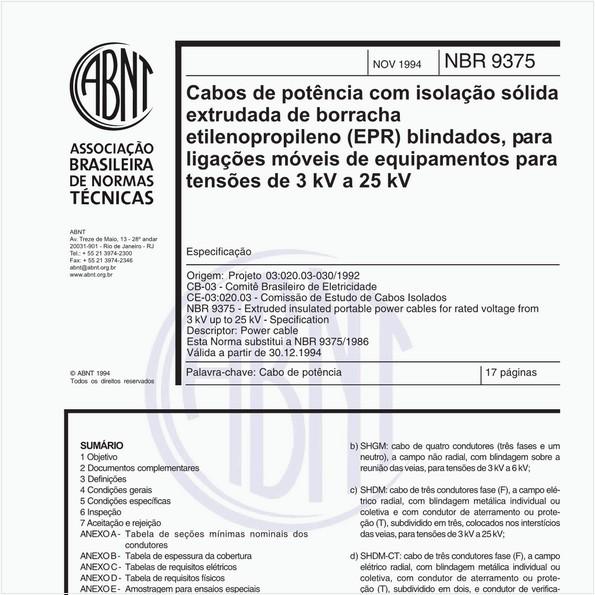 Cabos de potência com isolação sólida extrututada de borracha etilenopropileno (EPR) blindados, para ligações móveis de equipamentos para tensões de 3 kV a 25 kV - Especificação