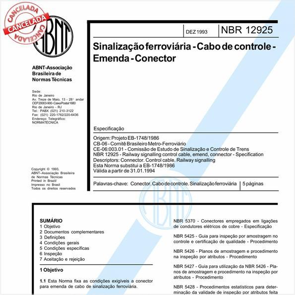 Sinalização ferroviária - Cabo de controle - Emenda - Conector