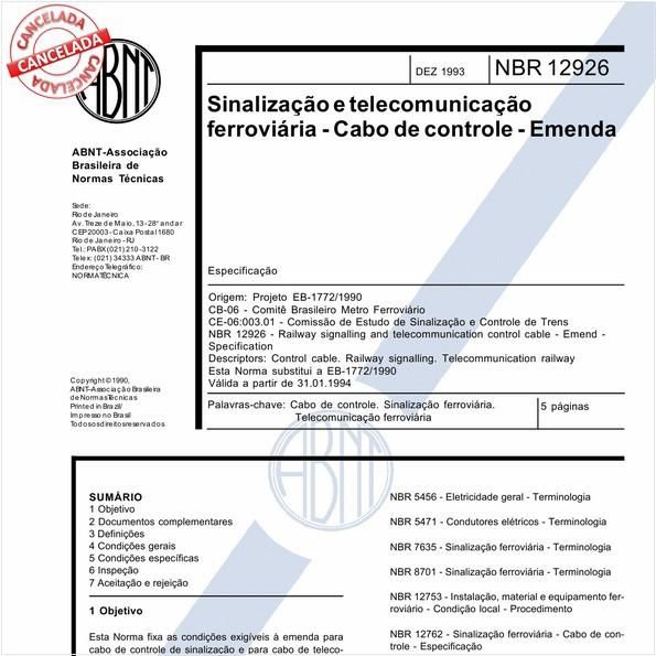 Sinalização e telecomunicação ferroviária - Cabo de controle - Emenda