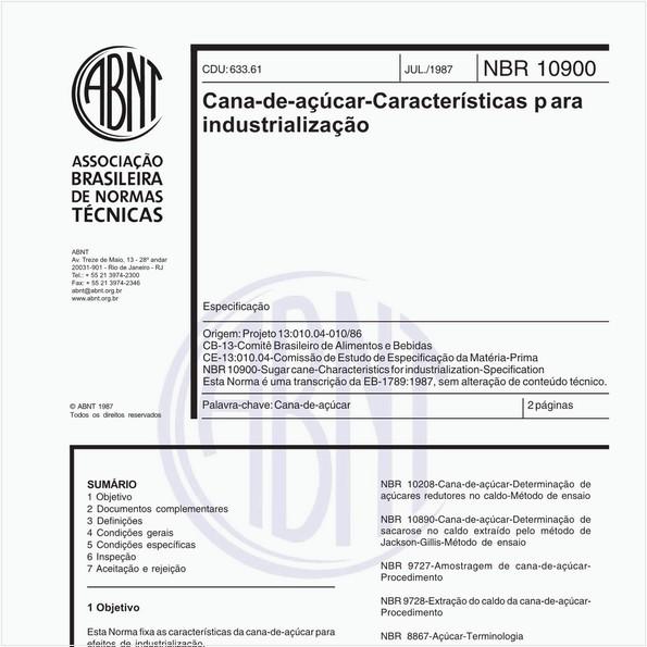 Cana-de-açúcar - Características para industrialização - Especificação