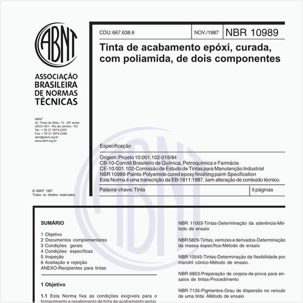 Tinta de acabamento epóxi, curada, com poliamida, de dois componentes - Especificação