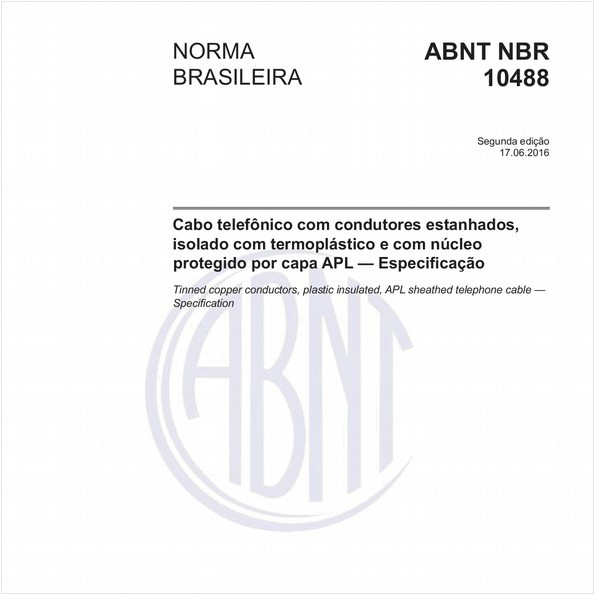 Cabo telefônico com condutores estanhados, isolado com termoplástico e com núcleo protegido por capa APL — Especificação