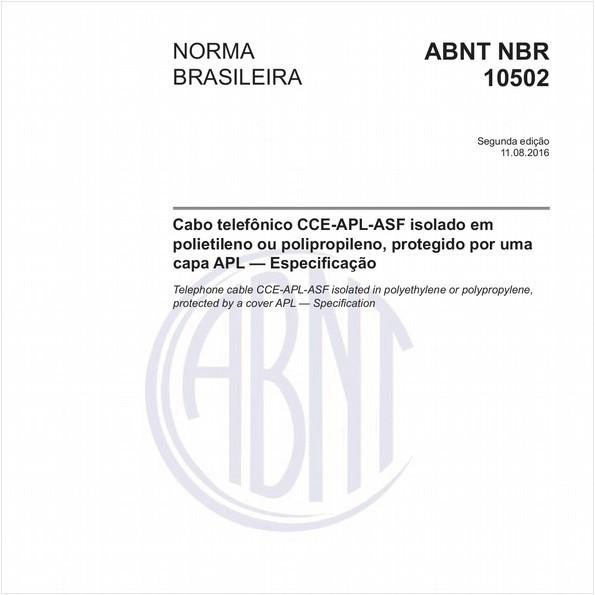 Cabo telefônico CCE-APL-ASF isolado em polietileno ou polipropileno, protegido por uma capa APL - Especificação