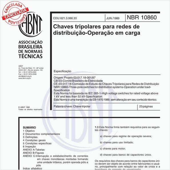 Chaves tripolares para redes de distribuição - Operação em carga- Especificação
