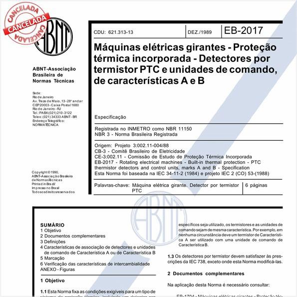 Máquinas elétricas girantes - Proteção térmica incorporada - Detectores por termistor PTC e unidades de comando, de características A e B