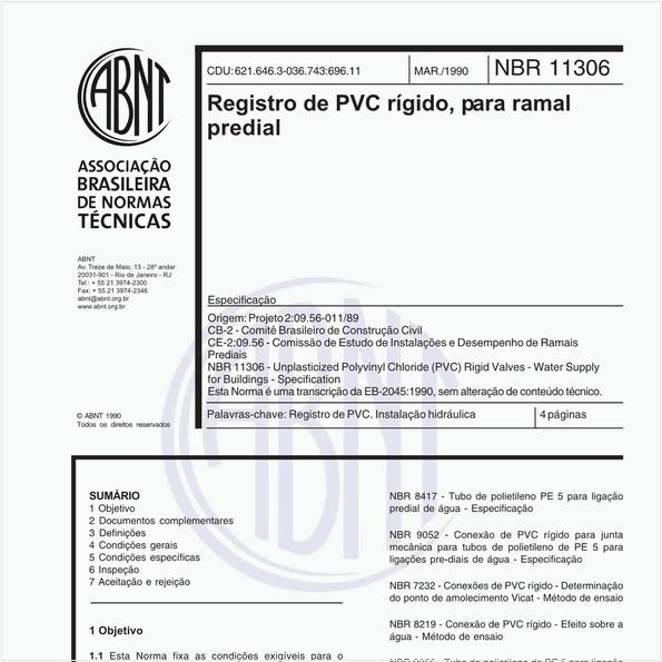 Registro de PVC rígido, para ramal predial - Especificação