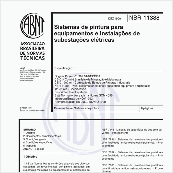Sistemas de pintura para equipamentos e instalações de subestações elétricas - Especificação