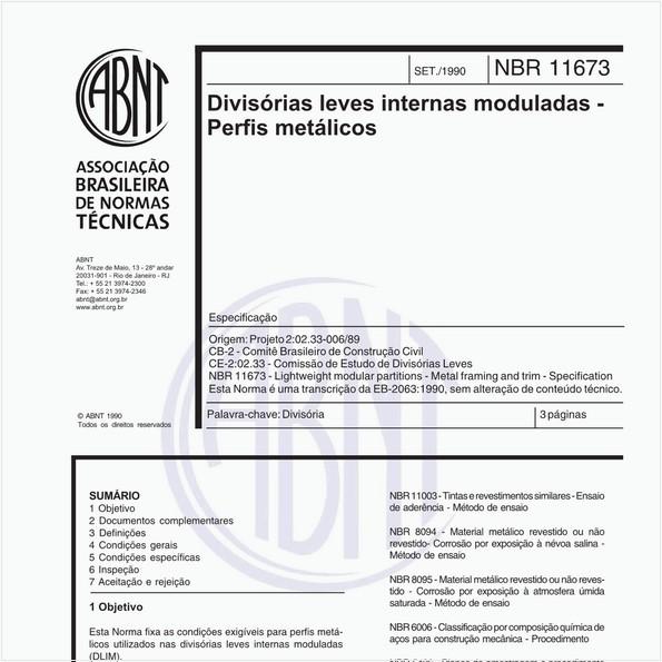 Divisórias leves internas moduladas - Perfis metálicos - Especificação