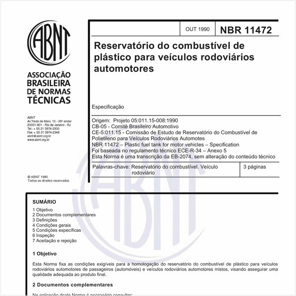 Reservatório do combustível de plástico para veículos rodoviários automotores - Especificação