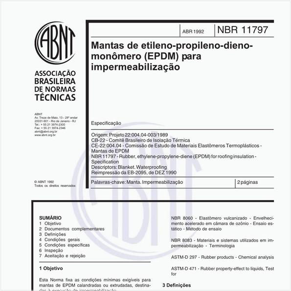 Mantas de etileno-propileno-dieno-monômero (EPDM) para impermeabilização - Especificação