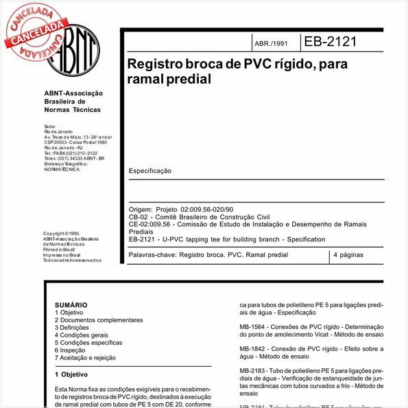 Registro broca de PVC rígido, para ramal predial