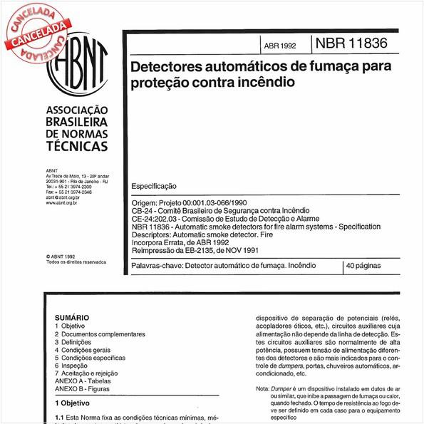 Detectores automáticos de fumaça para proteção contra incêndio
