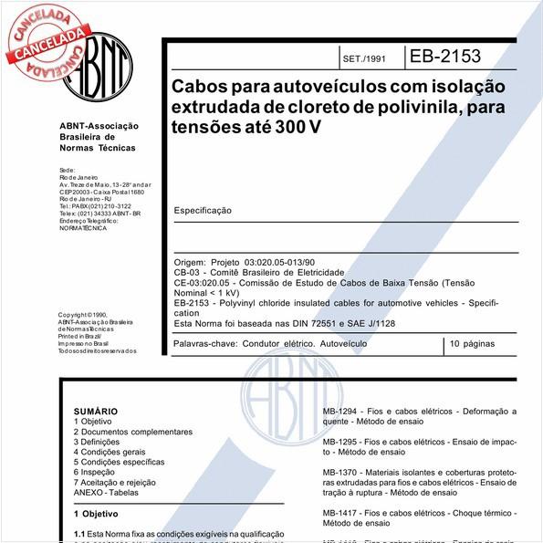Cabos para auto-veículos com isolação extrudada de cloreto de polivinila para tensões até 300 V
