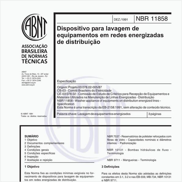 Dispositivo para lavagem de equipamentos em redes energizadas de distribuição - Especificação