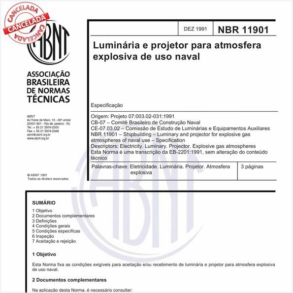 Luminária e projetor para atmosfera explosiva de uso naval