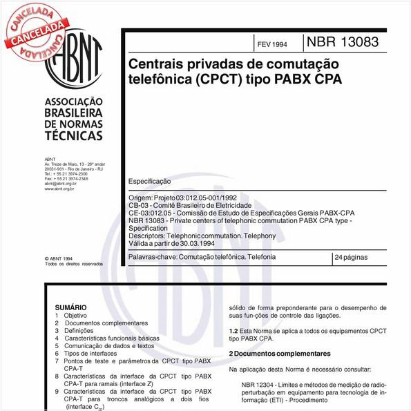 Centrais privadas de comutação telefônica (CPCT) tipo PABX CPA