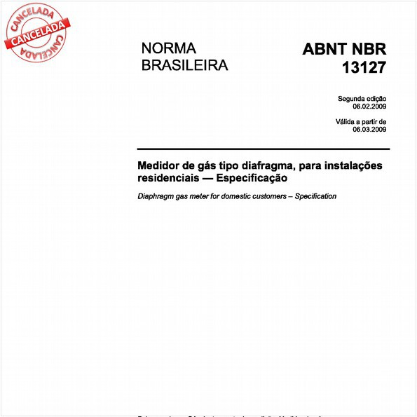 Medidor de gás tipo diafragma, para instalações residenciais - Especificação