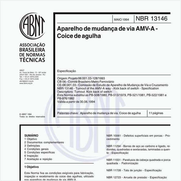 Aparelho de mudança de via AMV-A - Coice de agulha - Especificação