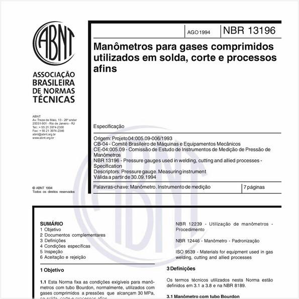 Manômetros para gases comprimidos utilizados em solda, corte e processos afins - Especificações