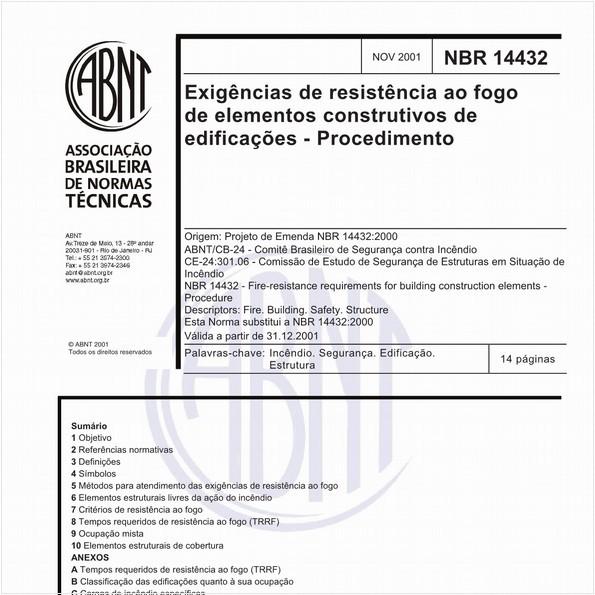 Exigências de resistência ao fogo de elementos construtivos de edificações - Procedimento
