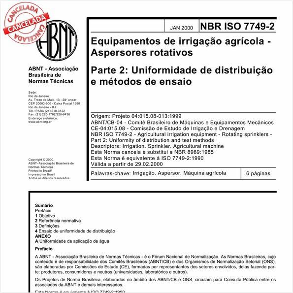Equipamentos de irrigação agrícola - Aspersores rotativos - Parte 2: Uniformidade de distribuição e métodos de ensaio