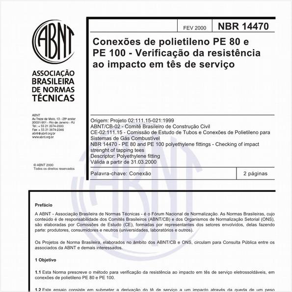 Conexões de polietileno PE 80 e PE 100 - Verificação da resistência ao impacto em tês de serviço