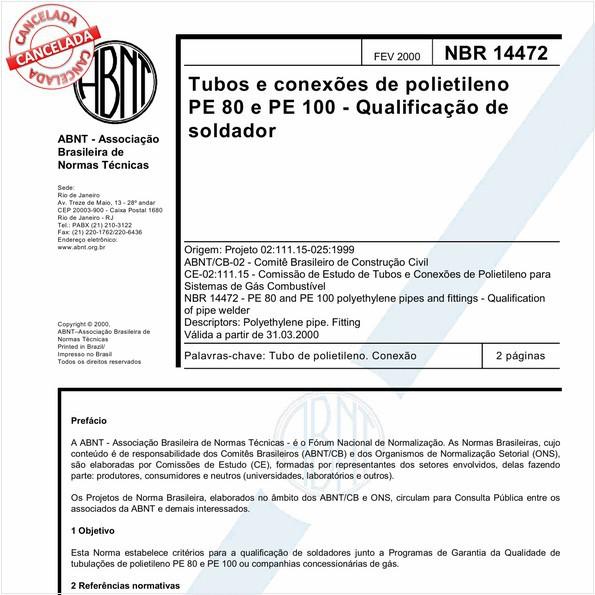Tubos e conexões de polietileno PE 80 e PE 100 - Qualificação de soldador