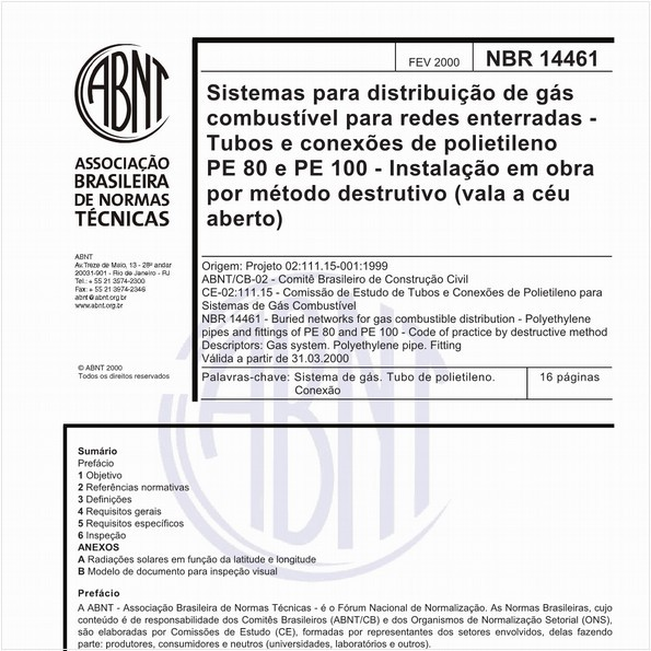 Sistemas para distribuição de gás combustível para redes enterradas - Tubos e conexões de polietileno PE 80 e PE 100 - Instalação em obra por método destrutivo (vala a céu aberto)
