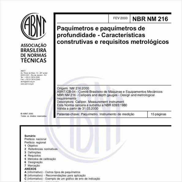 Paquímetros e parquímetros de profundidade - Características construtivas e requisitos metrológicos