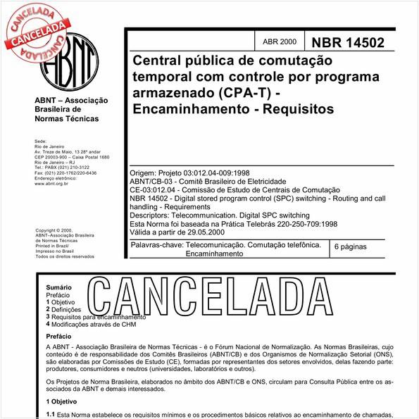 Central pública de comutação temporal com controle por programa armazenado (CPA-T) - Encaminhamento - Requisitos