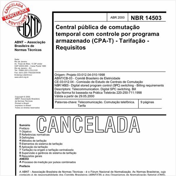 Central pública de comutação temporal com controle por programa armazenado (CPA-T) - Tarifação - Requisitos