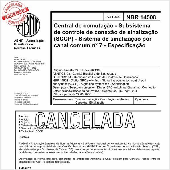 Central de comutação - Subsistema de controle de conexão de sinalização (SCCP) - Sistema de sinalização por canal comum nº 7 - Especificação
