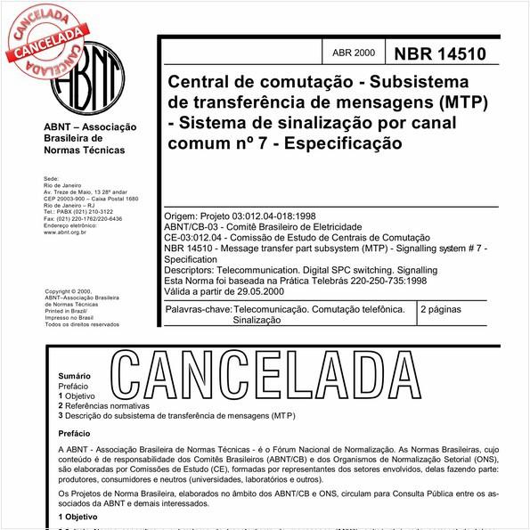 Central de comutação - Subsistema de transferência de mensagens (MTP) - Sistema de sinalização por canal comum nº 7 - Especificação