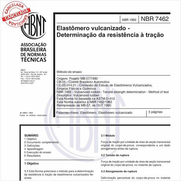 Elastômero vulcanizado - Determinação da resistência à tração