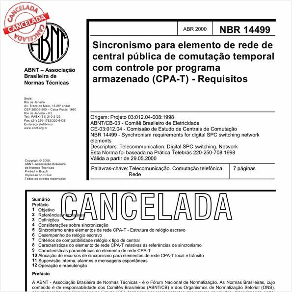 Sincronismo para elemento de rede de central pública de comutação temporal com controle por programa armazenado (CPA-T) - Requisitos