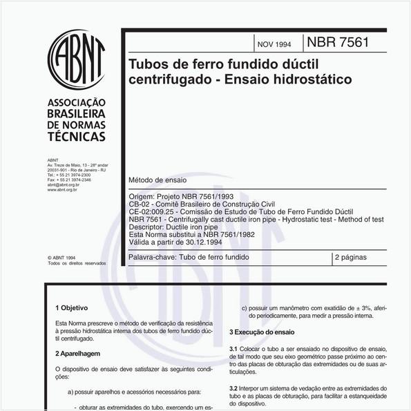 Tubos de ferro fundido dúctil centrifugado - Ensaio hidrostático