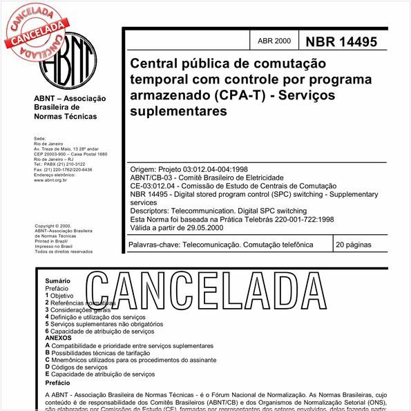 Central pública de comutação temporal com controle por programa armazenado (CPA-T) - Serviços suplementares
