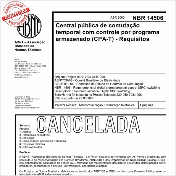 Central pública de comutação temporal com controle por programa armazenado (CPA-T) - Requisitos
