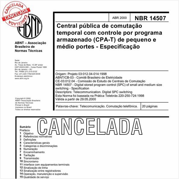 Central pública de comutação temporal com controle por programa armazenado (CPA-T)  de pequeno e médio portes - Especificação