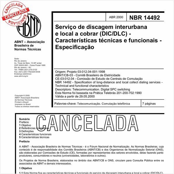 Serviço de discagem interurbana e local a cobrar (DIC/DLC) - Características técnicas e funcionais - Especificação