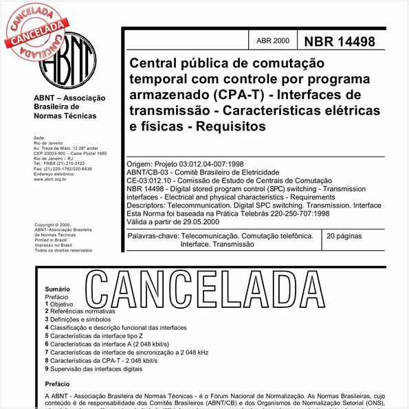 Central pública de comutação temporal com controle por programa armazenado (CPA-T) - Interfaces de transmissão - Características elétricas e físicas - Requisitos