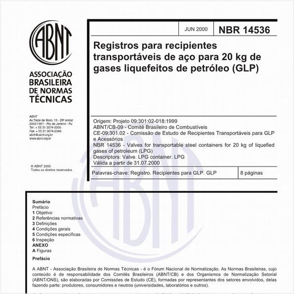 Registros para recipientes transportáveis de aço para 20 kg de gases liquefeitos de petróleo (GLP)