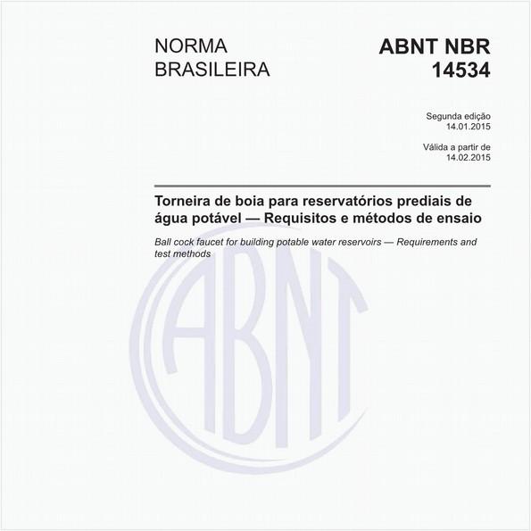 Torneira de boia para reservatórios prediais de água potável - Requisitos e métodos de ensaio