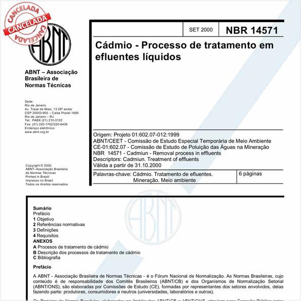 Cádmio - Processo de tratamento em efluentes líquidos