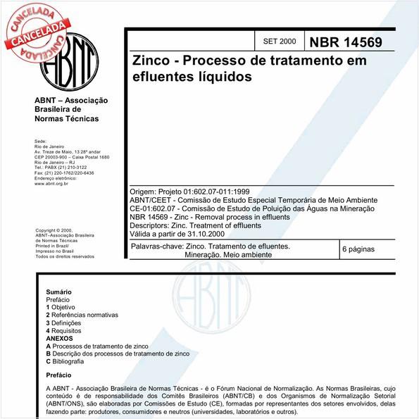 Zinco - Processo de tratamento em efluentes líquidos