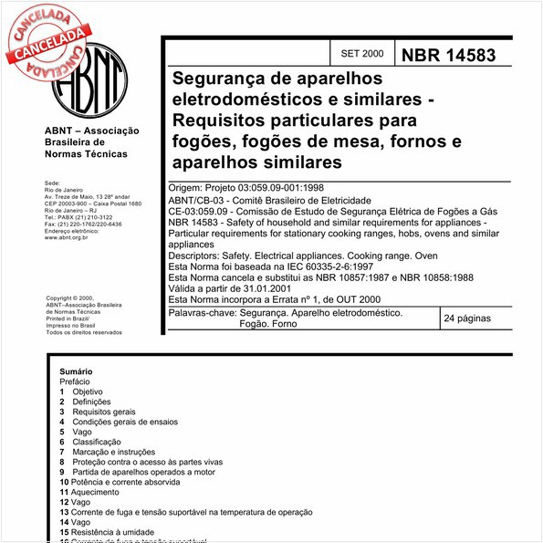 Segurança de aparelhos eletrodomésticos e similares - Requisitos particulares para fogões, fogões de mesa, fornos e aparelhos similares