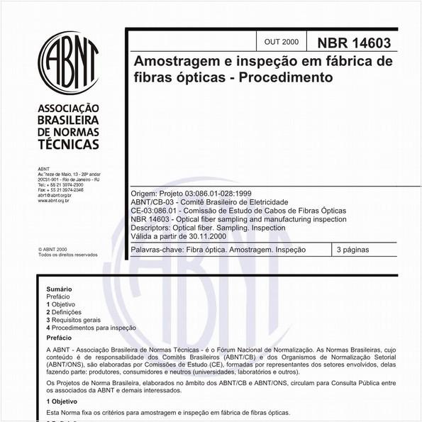 Amostragem e inspeção em fábrica de fibras ópticas - Procedimento