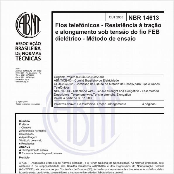 Fios telefônicos - Resistência à tração e alongamento sob tensao do fio FEB dielétrico - Método de ensaio